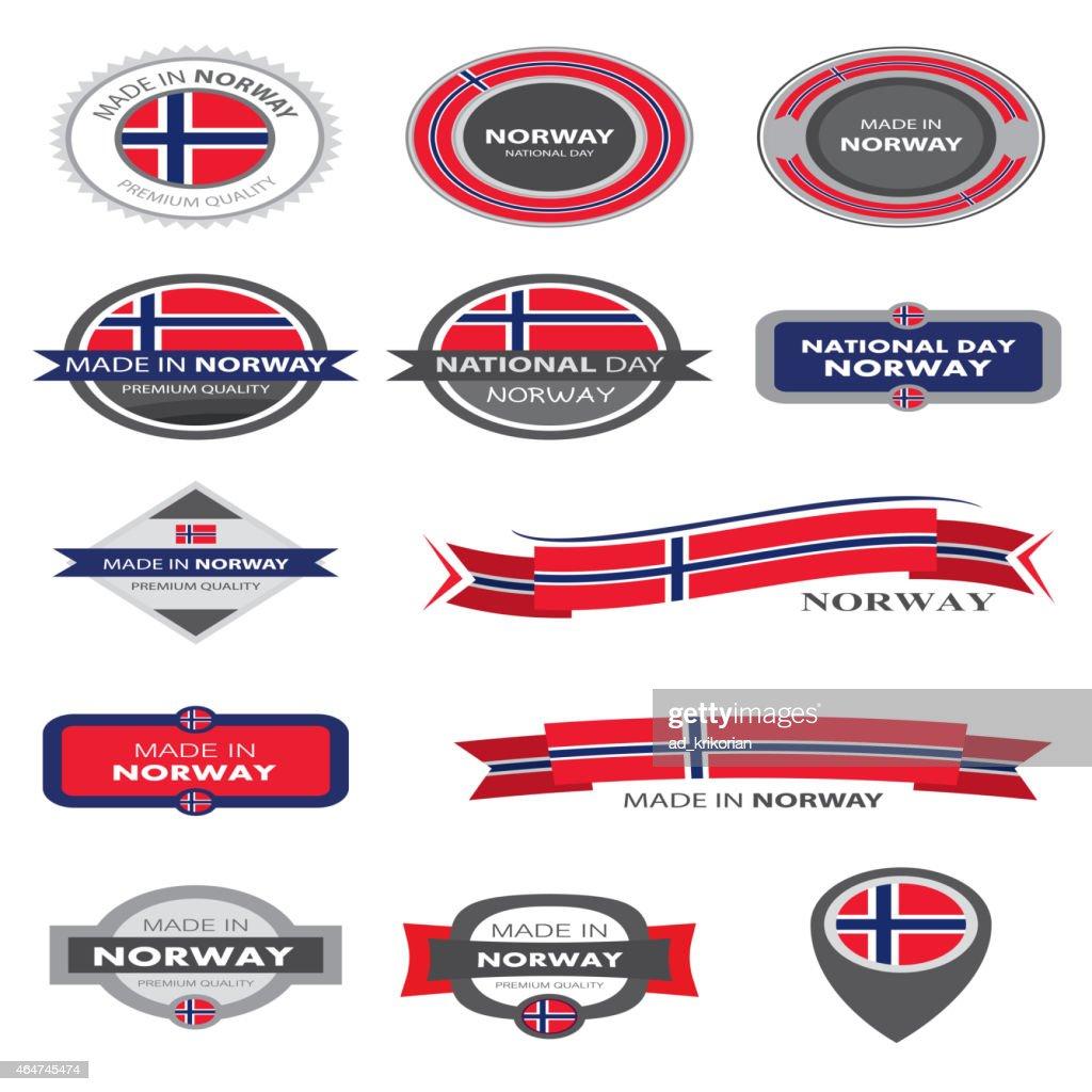 Made in Norway Seal Collection, Norwegian Flag (vector Art)