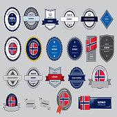 Made in Norway Seal, Norwegian Flag (Vector Art)