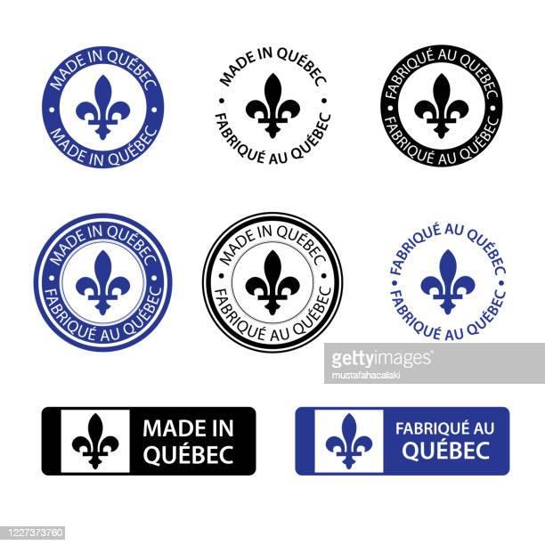 made in quebec stamps - quebec stock illustrations