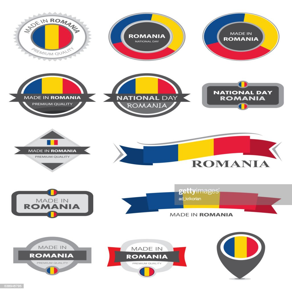 Made in Romania Seal Collection, Romanian Flag (Vector Art)