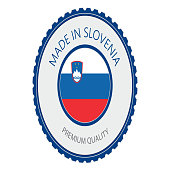 Made in Slovenia Seal, Slovenian Flag (Vector Art)