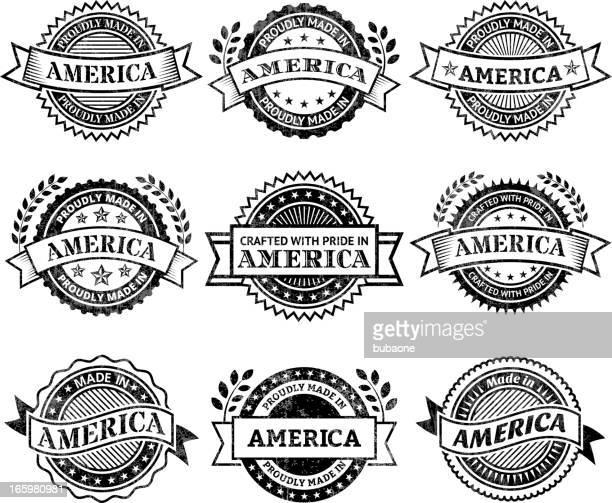 ilustrações, clipart, desenhos animados e ícones de feito no america patrióticas & conjunto de ícones pretos e branco - great seal