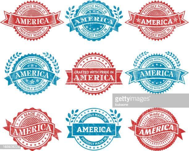ilustrações, clipart, desenhos animados e ícones de feito no america patrióticas crachá de grunge vector conjunto de ícones - great seal