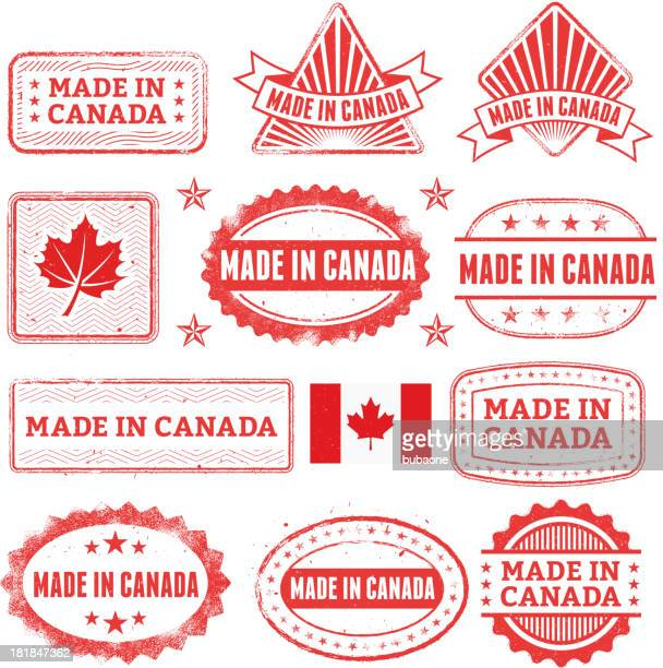 made in the canada grunge badge set - canadian flag stock illustrations, clip art, cartoons, & icons