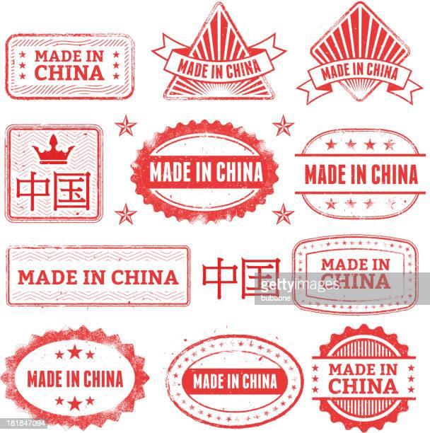 ilustrações, clipart, desenhos animados e ícones de feito em china crachá de grunge conjunto - great seal