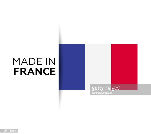 made in the france label, product emblem. white isolated background - french culture stock illustrations