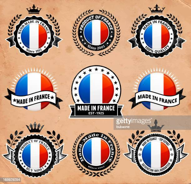 made in the france patriotic badge vector icon set - great seal stock illustrations, clip art, cartoons, & icons