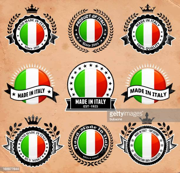made in the italy patriotic badge vector icon set - great seal stock illustrations, clip art, cartoons, & icons