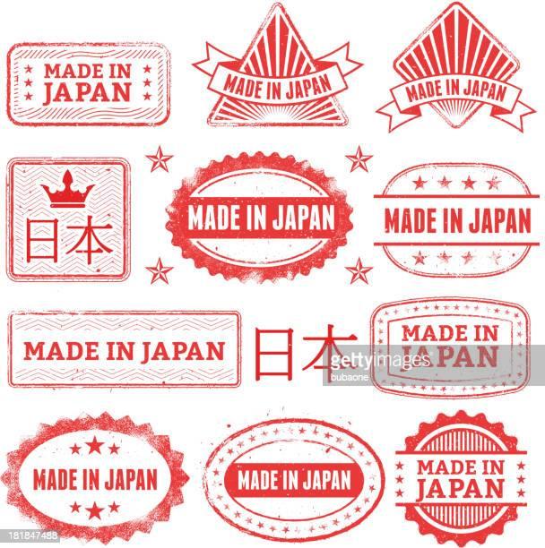 ilustrações, clipart, desenhos animados e ícones de feito no japão crachá de grunge conjunto - great seal
