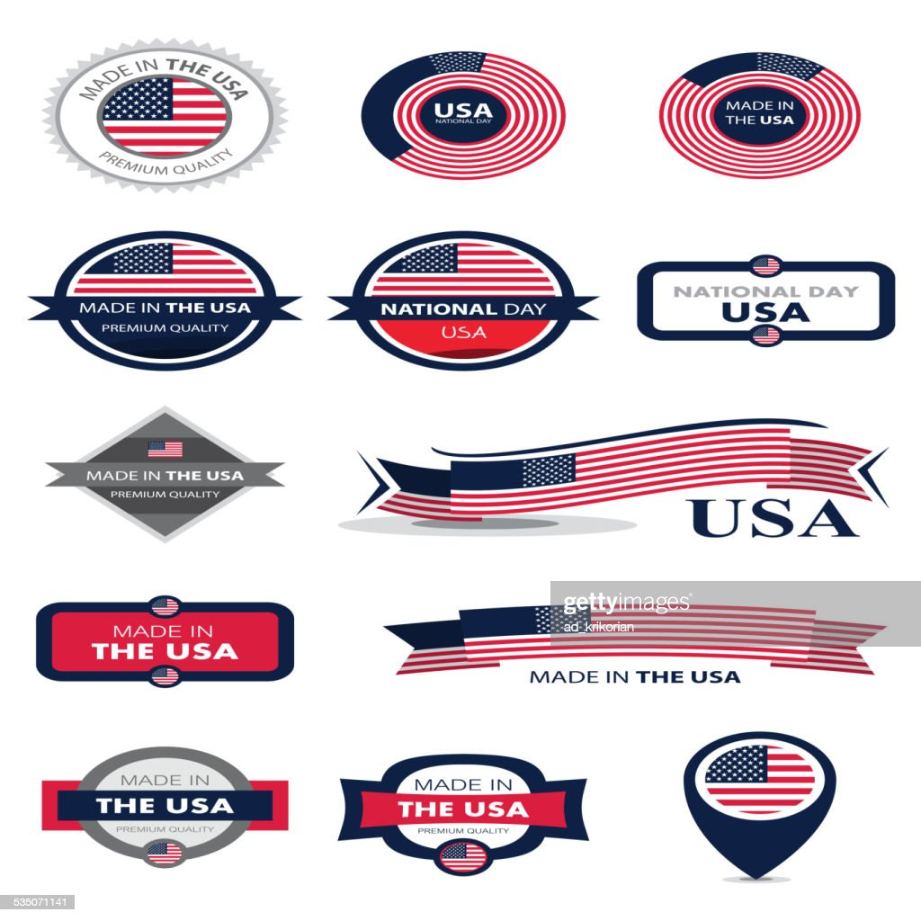 Made in the USA, American Flag, United States(Vector Art)