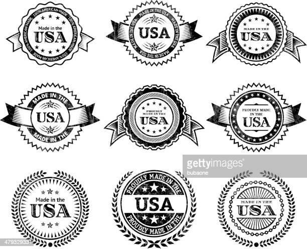 ilustrações, clipart, desenhos animados e ícones de feito nos eua escudo preto & branco conjunto de ícones - great seal