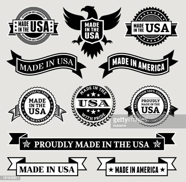 ilustrações, clipart, desenhos animados e ícones de feito nos eua preto & branco patrióticas conjunto de botões de - great seal