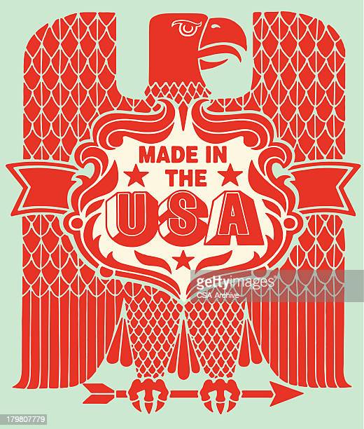 stockillustraties, clipart, cartoons en iconen met made in the usa eagle - bald eagle