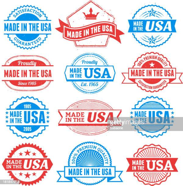made in the usa grunge badge set - great seal stock illustrations, clip art, cartoons, & icons