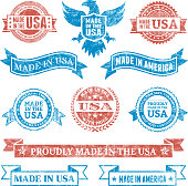 Made in the USA Grunge patriotic buttons set