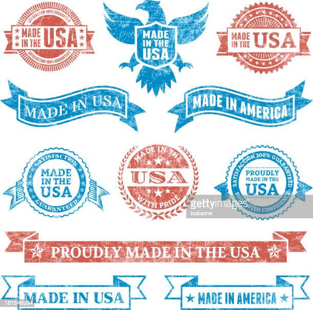 made in the usa grunge patriotic buttons set - eagle bird stock illustrations, clip art, cartoons, & icons