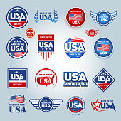 Made in the USA icons. American made emblems.