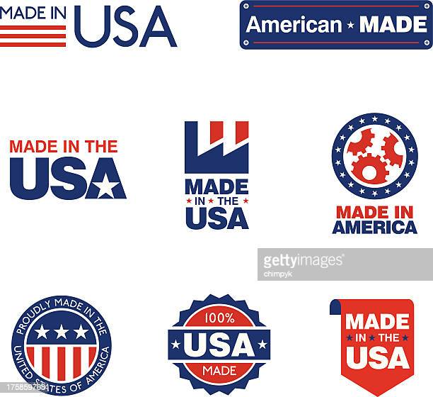 made in the usa labels - usa stock illustrations