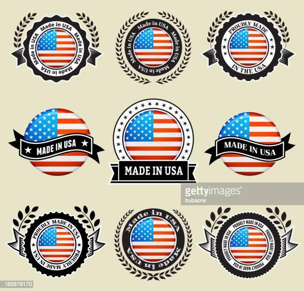 ilustrações, clipart, desenhos animados e ícones de feito nos eua patrióticas crachá conjunto de ícones vetoriais - great seal