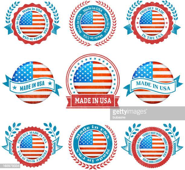 Made in the USA patriotic Badge vector icon set