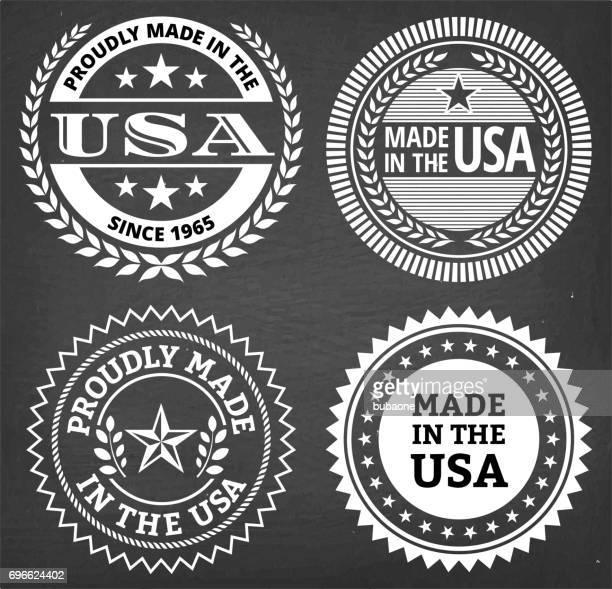 ilustrações, clipart, desenhos animados e ícones de feita no quadro de giz conjunto de eua patriótico distintivo vector - great seal
