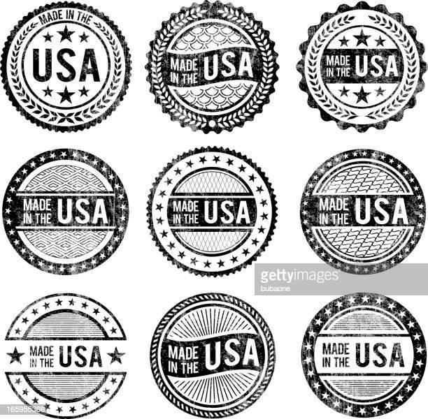 ilustrações, clipart, desenhos animados e ícones de feito nos eua patrióticas & branco conjunto de ícones pretos - great seal