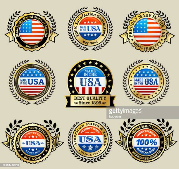 made in the usa patriotic golden vector icon set - great seal stock illustrations, clip art, cartoons, & icons