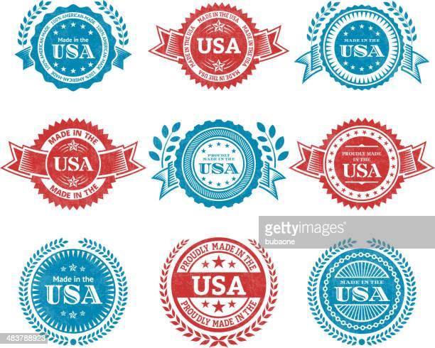 ilustrações, clipart, desenhos animados e ícones de feito nos eua patrióticas crachá de grunge vector conjunto de ícones - great seal
