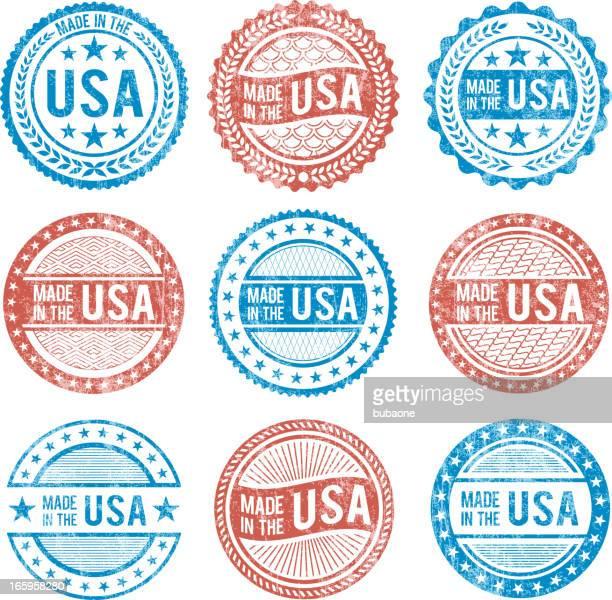 ilustrações, clipart, desenhos animados e ícones de feito nos eua patrióticas grunge vector conjunto de ícones - great seal