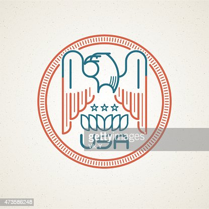 Made In The Usa Symbol With American Flag And Eagle Vector Art