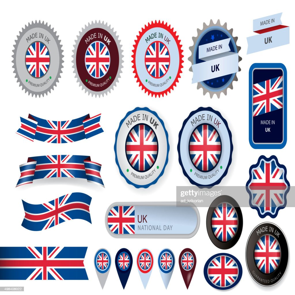 Made in UK Seal, United Kingdom Flag (Vector Art)