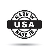 Made in USA, America black stamp. Vector illustration on white background