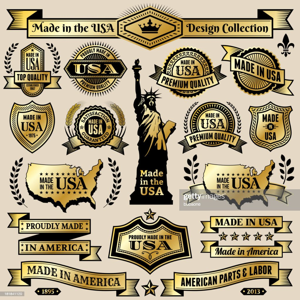Made In Usa Black Gold Banners Badges And Symbols Vector Art Getty