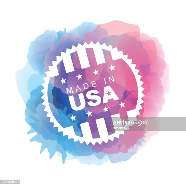 Made in USA bouton sur fond aquarelle