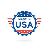 Made in USA icon concept badge design. Vector illustration.