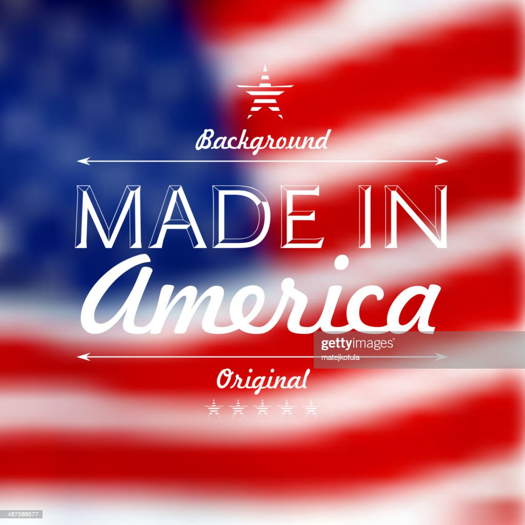 Made in usa over defocused United States flag background