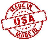 made in usa red grunge round stamp