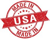 made in usa red round vintage stamp