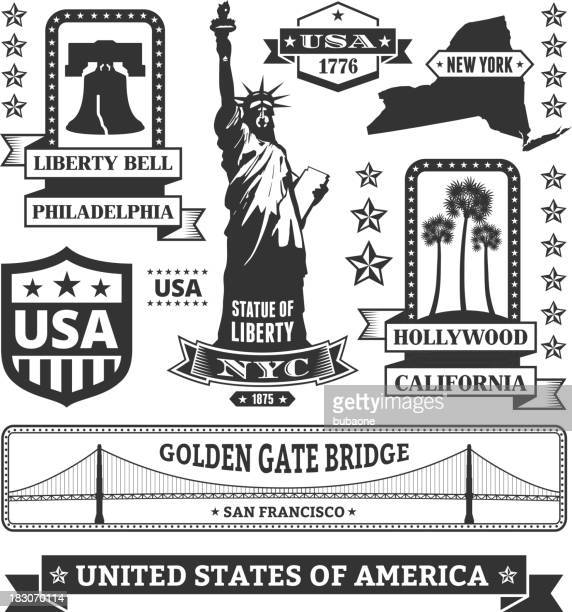 made in usa royalty free vector black & white icons - liberty bell stock illustrations