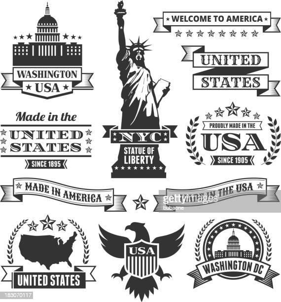 ilustraciones, imágenes clip art, dibujos animados e iconos de stock de hecho en los estados unidos sin royalties de iconos de vector negro & blanco - estatua de la libertad