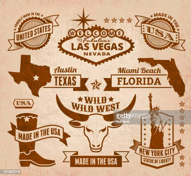 made in usa royalty free vector iconic state grunge set - texas stock illustrations