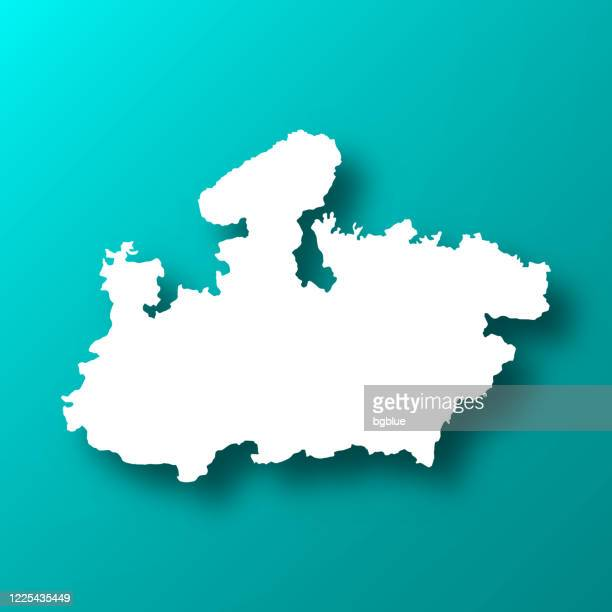 madhya pradesh map on blue green background with shadow - madhya pradesh stock illustrations