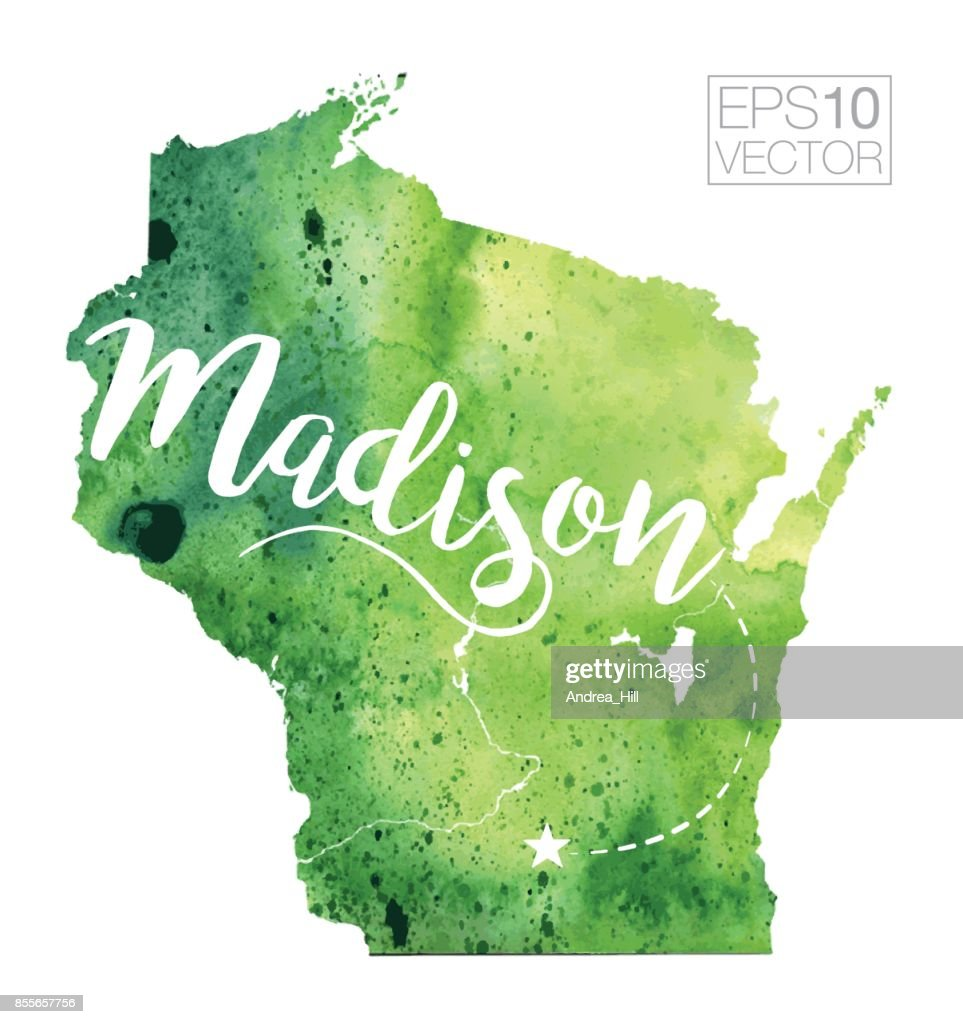 Madison Wisconsin Usa Vector Watercolor Map Vector Art | Getty Images