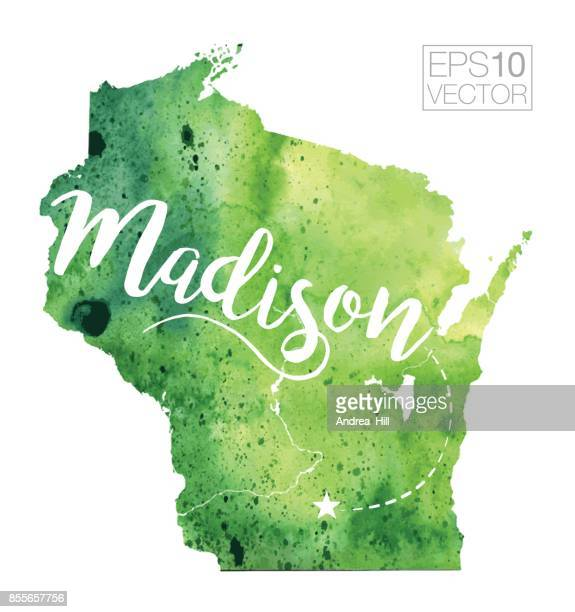 Madison, Wisconsin, USA Vector Watercolor Map