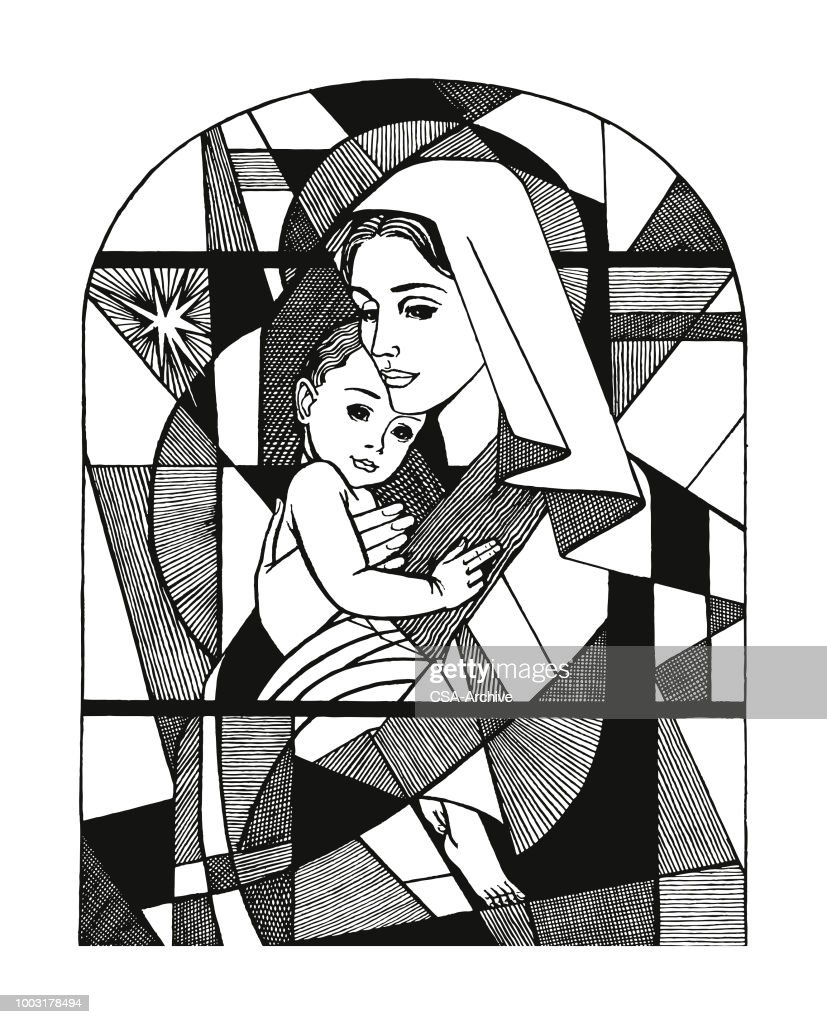 Madonna and Child Stained Glass Window : stock illustration