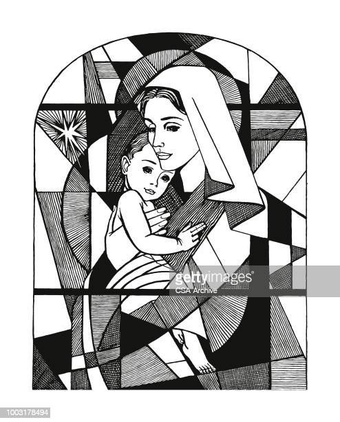 madonna and child stained glass window - jesus stock illustrations, clip art, cartoons, & icons
