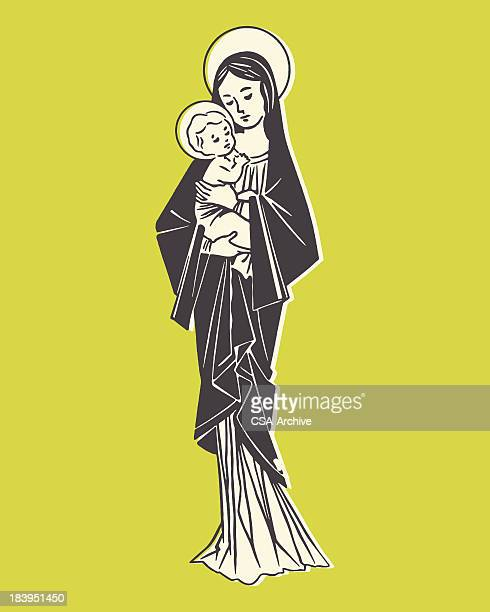 madonna and child - jesus stock illustrations, clip art, cartoons, & icons
