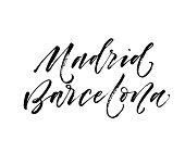 Madrid, Barcelona card.