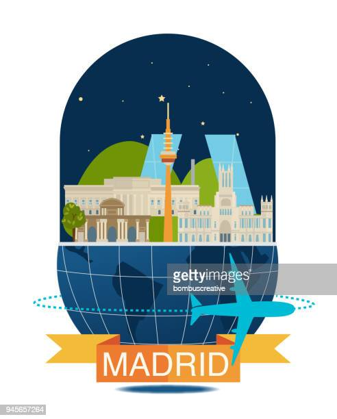 madrid city - iberian peninsula stock illustrations, clip art, cartoons, & icons