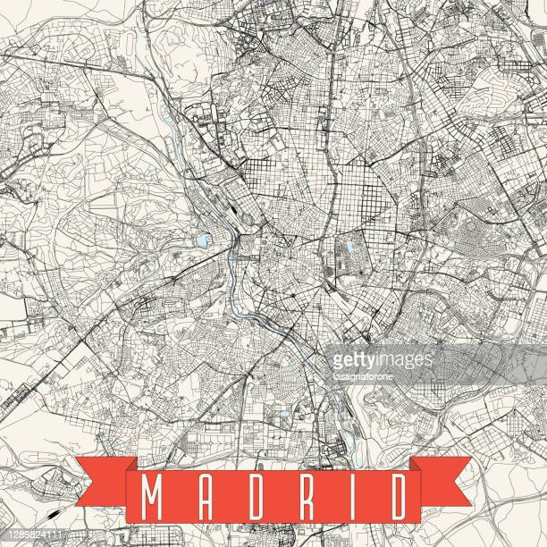 madrid, spain vector map - museo nacional centro de arte reina sofia stock illustrations